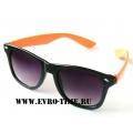 Солнечные очки wayfarer черные с ярко оранжевыми душками