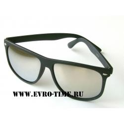 Солнечные очки wayfarer матовые черные с зеркальными линзами