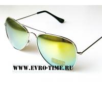 Солнцезащитные очки капли с желто-зеленым оттенком